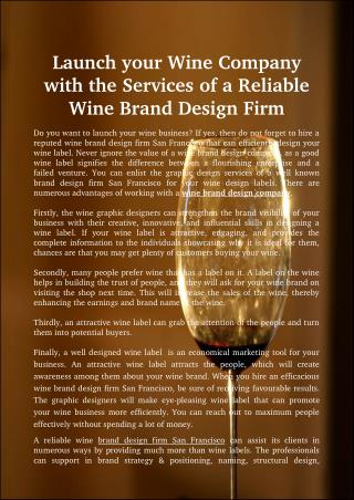 Launch your Wine Company with the Services of a Reliable Wine Brand Design Firm