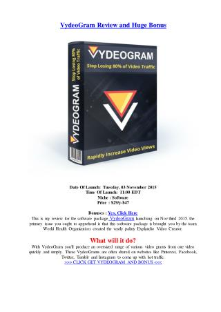 VydeoGram Review and Huge Bonus