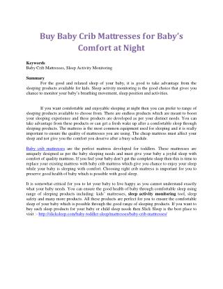 Buy Baby Crib Mattresses for Baby's Comfort at Night