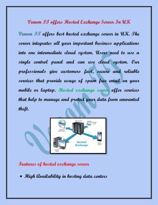 Venom IT offers Hosted Exchange Server In UK