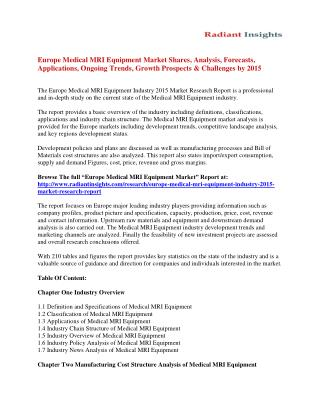 Europe Medical MRI Equipment Market Size, Share, Analysis And Forecasts To 2015