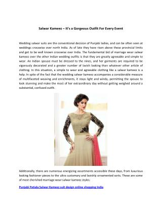 Salwar Kameez � It�s a Gorgeous Outfit For Every Event