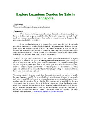 Explore Luxurious Condos for Sale in Singapore