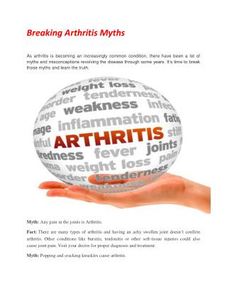 Breaking Arthritis Myths