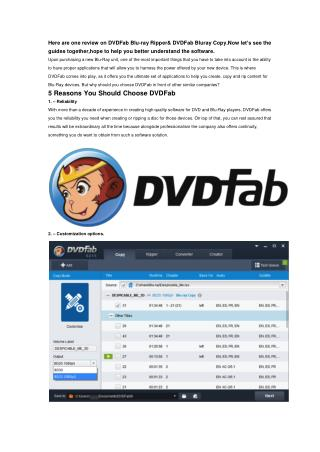 The Top Five Reasons You Choose DVDFab as Your Blu-ray Companion