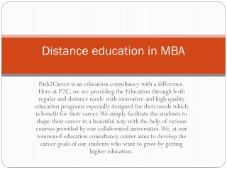 Distance education in MBA