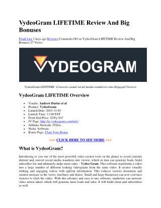 VydeoGram LIFETIME Review And Big Bonuses