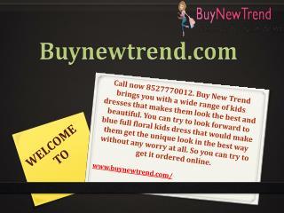 Buy online Blue Full Floral Kids Dress in Delhi