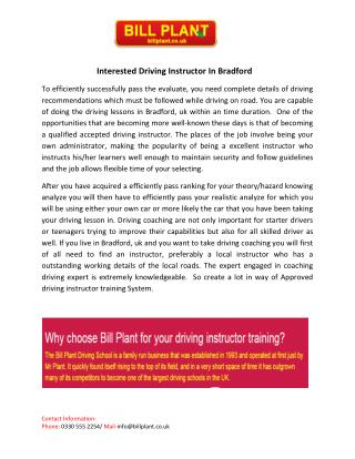 Interested Driving Instructor In Bradford