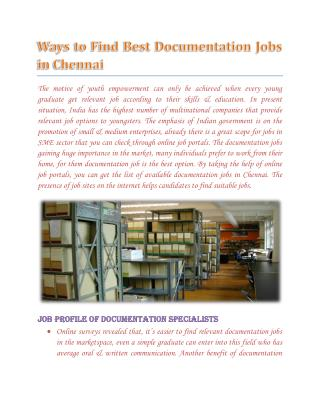 Documentation Jobs in Chennai - wisdomjobs