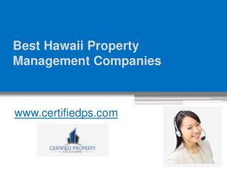Best Hawaii Property Management Companies - www.certifiedps.com