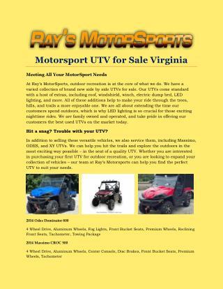 Motorsport UTV for Sale Virginia