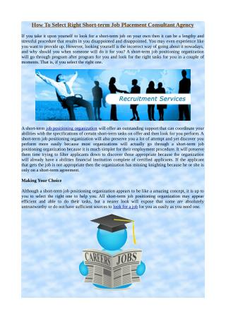 How To Select Right Short-term Job Placement Consultant Agency