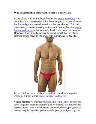 Why Is Discount So Important In Men�s Underwear?