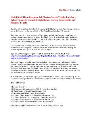 Global Black Flame Retardant Felt Market Overview and Developments by 2015