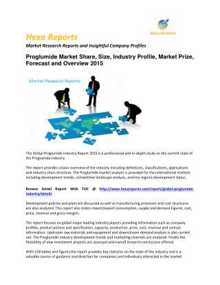 Proglumide Market 2015 Size, Share, trends and Forecast  2015
