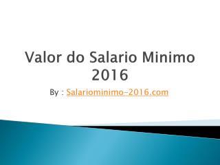 Valor Salario Minimo 2016