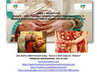 Aisha's Matrimonial Reviews