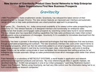 New Version of Gravitocity Product Uses Social Networks to Help Enterprise Sales Organizations Find New Business Prospec
