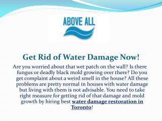 Get Rid of Water Damage Now!