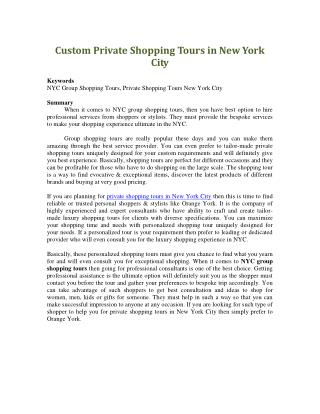 Custom Private Shopping Tours in New York City