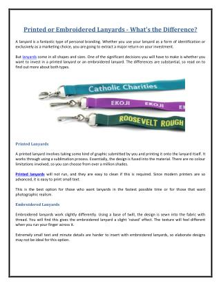 Printed or Embroidered Lanyards - What's the Difference?