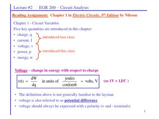 Lecture 2      EGR 260   Circuit Analysis