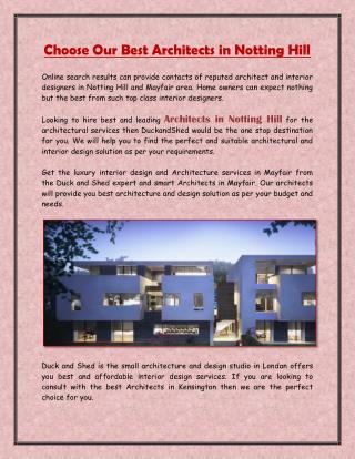 Choose Our Best Architects in Notting Hill