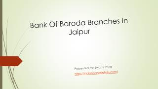 Bank Of Baroda Branches In Jaipur