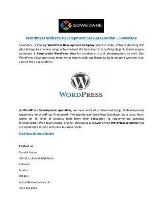 WordPress Website Development Services London - Sowedane