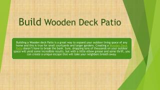 Build Wooden Deck