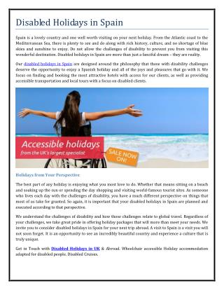 Disabled Holidays in Spain