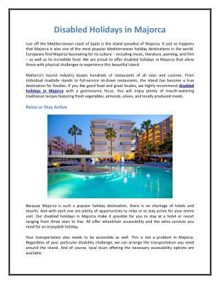 Disabled Holidays in Majorca