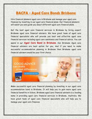 BACFA - Aged Care Bonds Brisbane