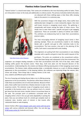 Flawless Indian Casual Wear Sarees