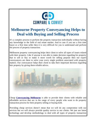Melbourne Property Conveyancing Helps to Deal with Buying and Selling Process