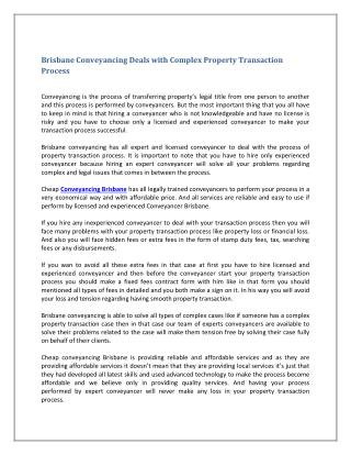 Brisbane Conveyancing Deals with Complex Property Transaction Process