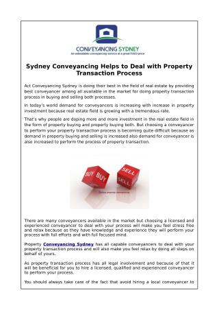Sydney Conveyancing Helps to Deal with Property Transaction Process