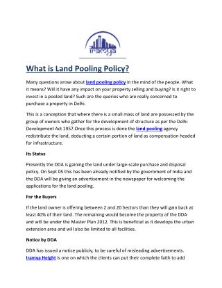 land pooling policy- iramya.com
