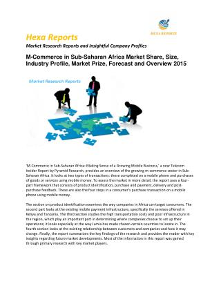 M-Commerce in Sub-Saharan Africa Market  Share, Key Trends Application Analysis, Regional Outlook & Forecasts to 2015