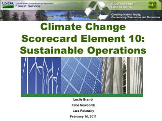 Climate Change Scorecard Element 10:  Sustainable Operations