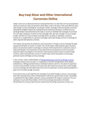 Buy Iraqi Dinar and Other International Currencies Online