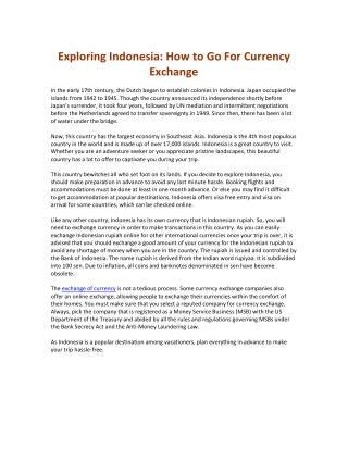 Exploring indonesia   how to go for currency exchange