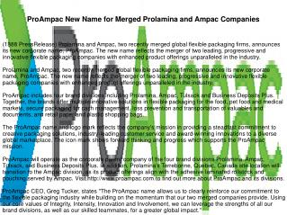 ProAmpac New Name for Merged Prolamina and Ampac Companies