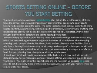 Sports betting online – before you start betting