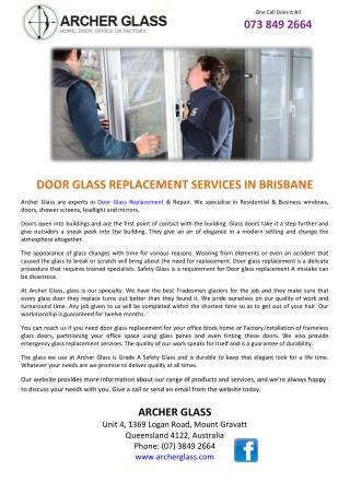 DOOR GLASS REPLACEMENT SERVICES IN BRISBANE