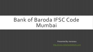 Bank of Baroda IFSC Code Mumbai