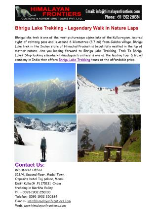 Bhrigu Lake Trekking- Legendary walk in Nature's Lap