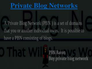 Private Blog Network Building Service Providing By PBN Baron