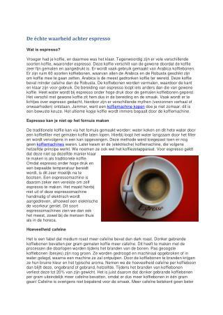 De échte waarheid achter espresso